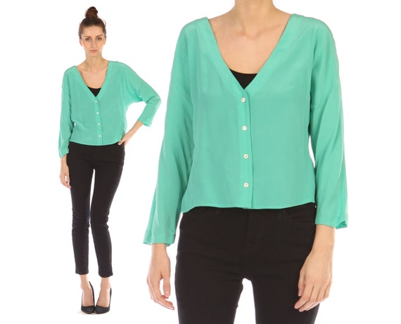 Vintage 90s // silk cardigan // spring green seafoam mint  // boxy fit // button-up // cropped // small