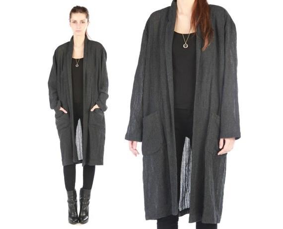 on hold Norma Kamali jacket // vintage 80s // charcoal grey gray linen // slouchy oversized fit  // minimalist // small medium large