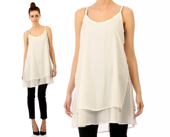 layered white tank top // flowy tunic // vintage 90s contempo casuals // small