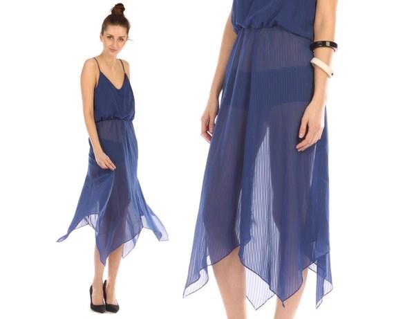 Vintage 70s // sheer dress // cobalt blue //  handkerchief hem // flowy hippie boho dress // small