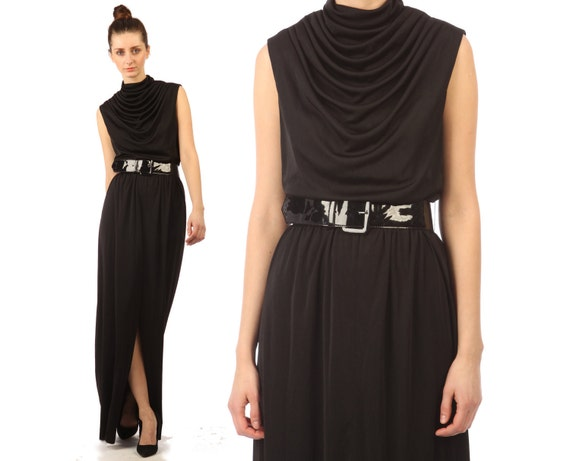vintage 1970s dress maxi // black disco dress //  slinky // Lilli Diamond // flowy // huge slit // grecian draped // small medium