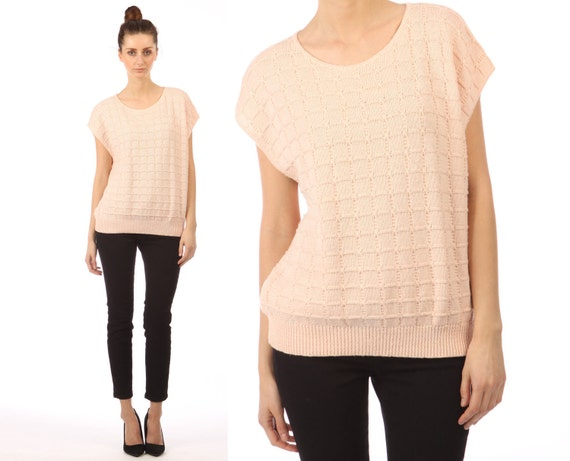 Vintage 80s // blush pink sweater // cable knit  // cap sleeves // slouchy fit // small medium
