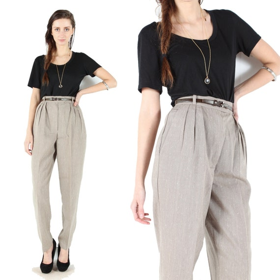Vintage 80s // high waist pants // neutral tan // belted //