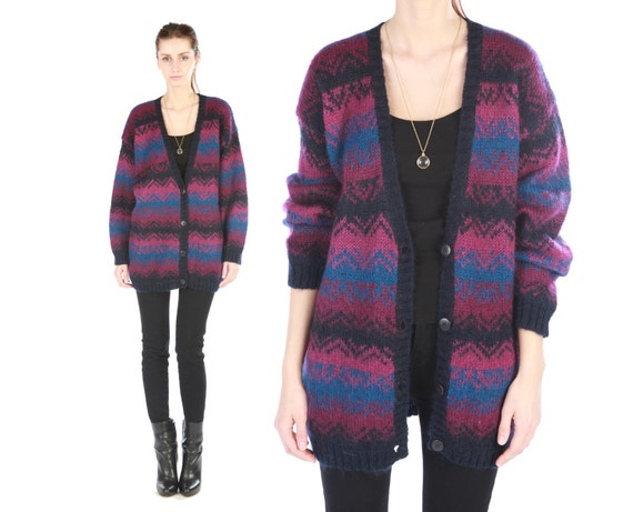 Vintage 80s // mohair sweater cardigan // zig zag pattern // fuzzy oversized slouchy // small medium large