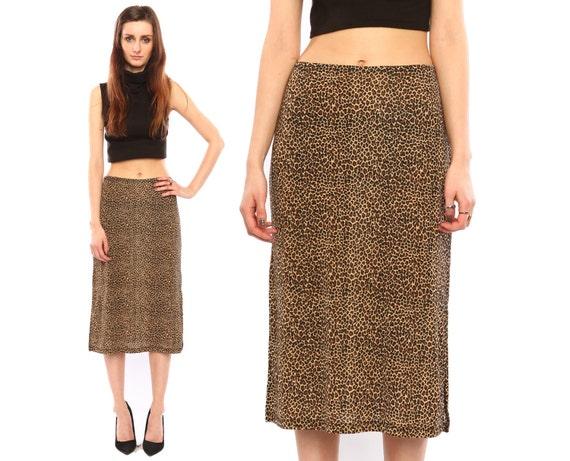 vintage leopard skirt // 90s grunge // slinky pencil fit // animal print // small medium