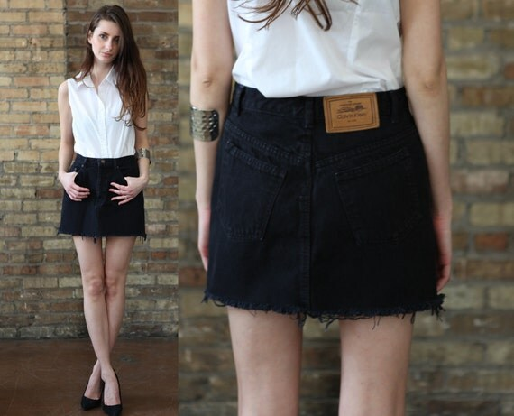 Short Black Denim Skirt