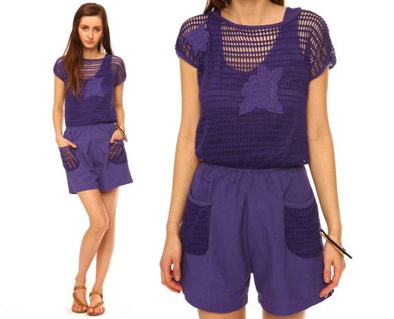 Purple Jumpsuit Romper // Vintage 80s // Cotton // By ShopCOLLECT