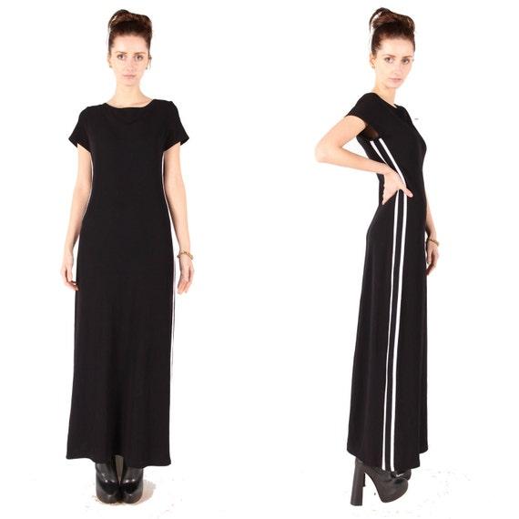 Vintage 90s black maxi dress // grunge // race stripe athletic // white stripe // small