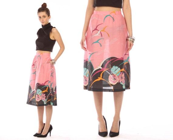 summer skirt midi // bird print  // pink  // vintage 80s // tropical novelty motif // semi sheer // medium