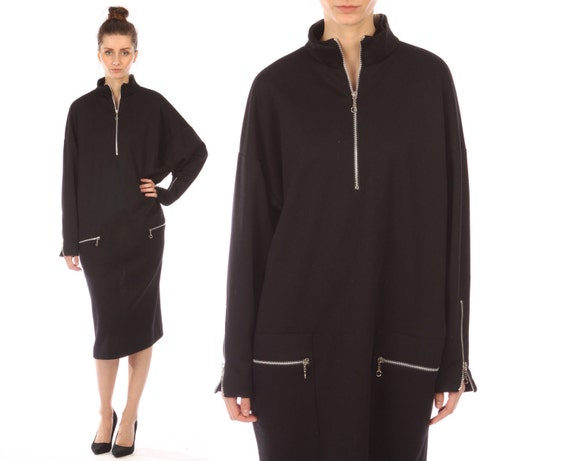 avant garde dress // vintage 80s // silver zippers // batwing sleeves // oversized // small medium large