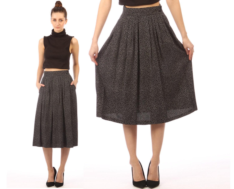 black midi skirt white polka dots vintage 80s by