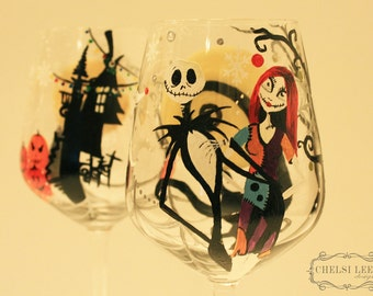 Nightmare Before Christmas Hand Painted Wine Glass Set of 2