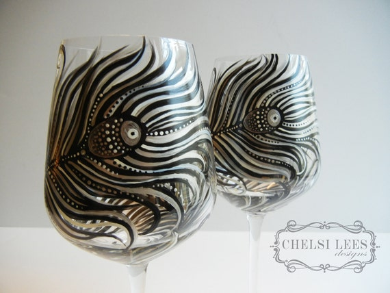 Set of 2- Hand Painted Wine Glass: Peacock Design Black-Silver-White