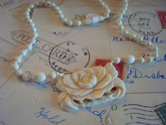 Real Ivory Single Strand Bead Necklace with Floral Pendant
