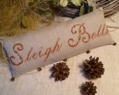 PRIMITIVE CHRISTMAS Pillow, Pincushion, Cross Stitch Country Rustic Primitives OOAK