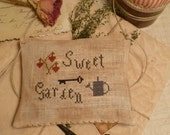 PRIMITIVE SprinG- Cross Stitch E -Pattern- PdF - SweeT GaRdeN- The Blue Attic