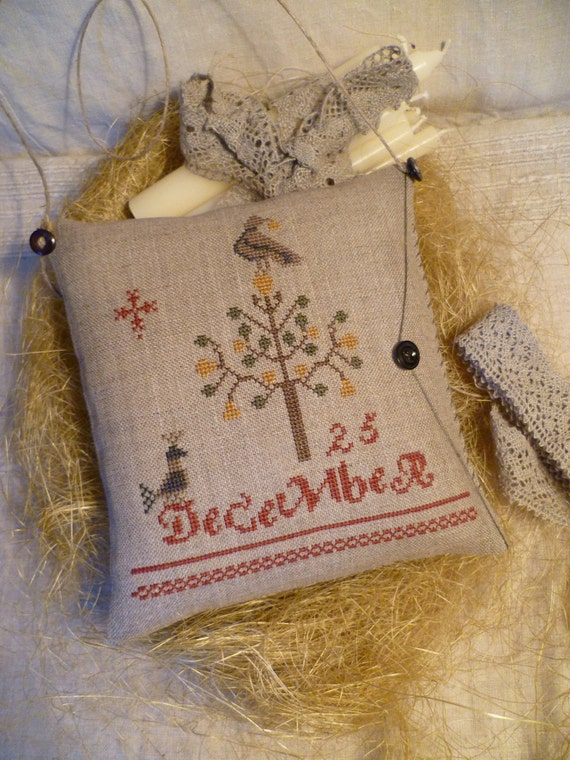 PRIMITIVE CHRISTMAS Pillow  Stacy NASH Pear Tree and Partridges Completed cross stitched Pinkeep