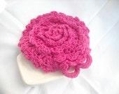 Crocheted Flower Soap Holder - Pink