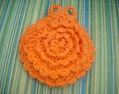 Crocheted Flower Soap Holder -Orange