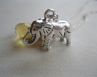 Elephant Safari Animal Charm Necklace with Yellow Crystal Wire Wrapped Faceted Briolette Tear Drop.