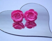 Pink rose cabochon stud earrings