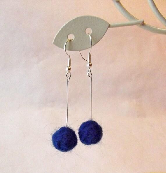 Navy blue needle felted ball earrings