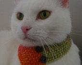 Cat Neck Warmer/Cowl - Hand Knitted - Green, Orange, Plum Random Yarn