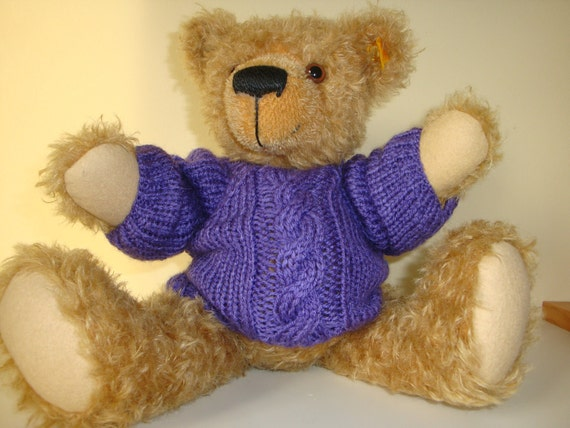 Teddy Bear Sweater - Hand knitted - Purple Cable/Aran Style