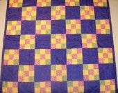 Patchwork Quilt, Purple Quilt,  Yellow Quilt, Green Quilt, Pink Quilt, 9 Patch Quilt