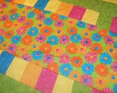 Bright Colored Quilt, Daisy Quilt, Flower Quilt, Colorful Quilt, Orange Quilt, Yellow Quilt, Green Quilt, Pink Quilt, Blue Quilt