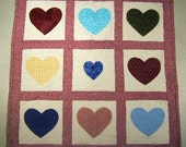 Heart Quilt,  Applique Quilt, Table Topper,  Wall Hanging