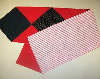 Red and Black Table Runner, Cherry Table Runner, Quilted Table Runner, Table Runner, Cherries
