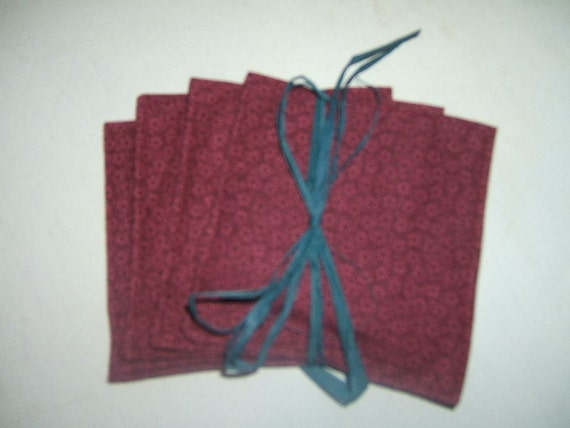 Spice Filled Coasters, Fabric Coasters, Scented Coasters, Cranberry Red Coasters, Stars