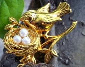 Vintage Bird Brooch with Nest of Pearls