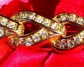 Gold and Rhinestone Swarovski Brooch