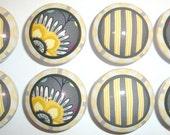 Handmade Grey and Yellow Melrose Dresser Drawer Knobs -  Set of 8