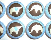 Handmade Blue and Brown Elephant Dresser Drawer Knobs - Set of 10