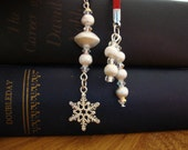 Red and Silver Beaded Bookmark With Snowflake Charm