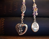 Lavender Crystal Beaded Bookmark With Silver Jeweled Heart and 'Love Much/Laugh Often Charms