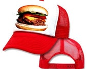 Cheeseburger Mesh Trucker Hat Cap Red
