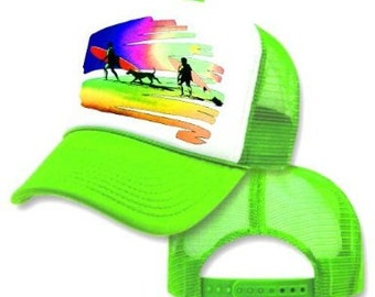 Neon Green SURFING SUNSET Mesh Trucker Hat Cap 80's