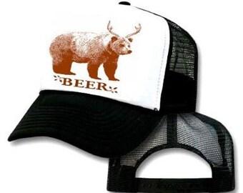 BEER BEAR DEER Mesh Trucker Hat Cap