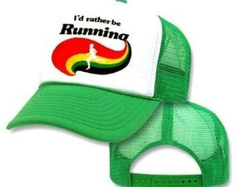 I'd RATHER Be RUNNING RAINBOW Mesh Trucker Hat Cap