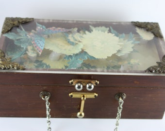Shadowbox Wooden Purse with Working Latch and Mirror, Vintage, Rare and Unique