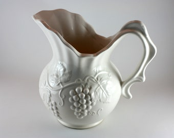 Vintage Pitcher Collectable, White Grapes, Ceramic, White, Classy