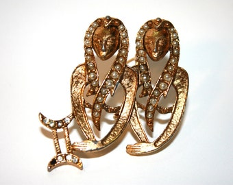 Brooch, Costume Jewelry, Gemini Twins, 1960's, Gold Color