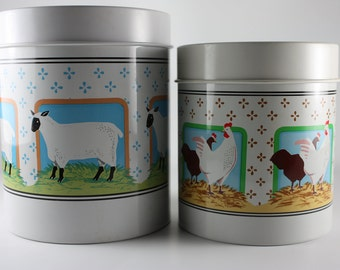 Tin Containers, Farm Animal Design, Made By Vandor, Country Nesting Tins