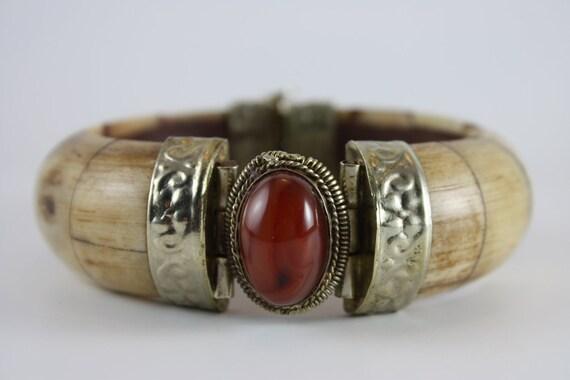 ivory bracelet cuff handmade india carnelian stone