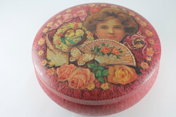 vintage tin rose container box and lid vintage girl pink rose flower