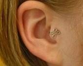 Fleur RIGHT Tragus Cuff Silver Ear Cuff wire loop swirl curly earring alternative